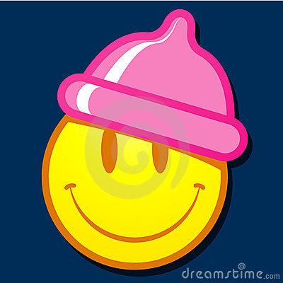 fronte-di-smiley-con-il-cappello-del-preservativo-9613087
