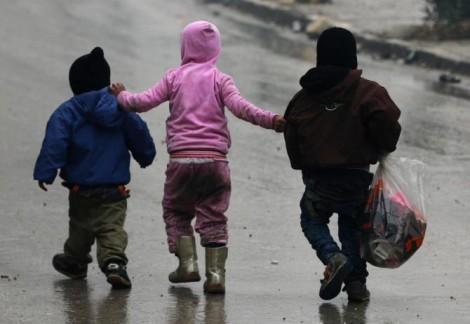 siria bambini in fuga
